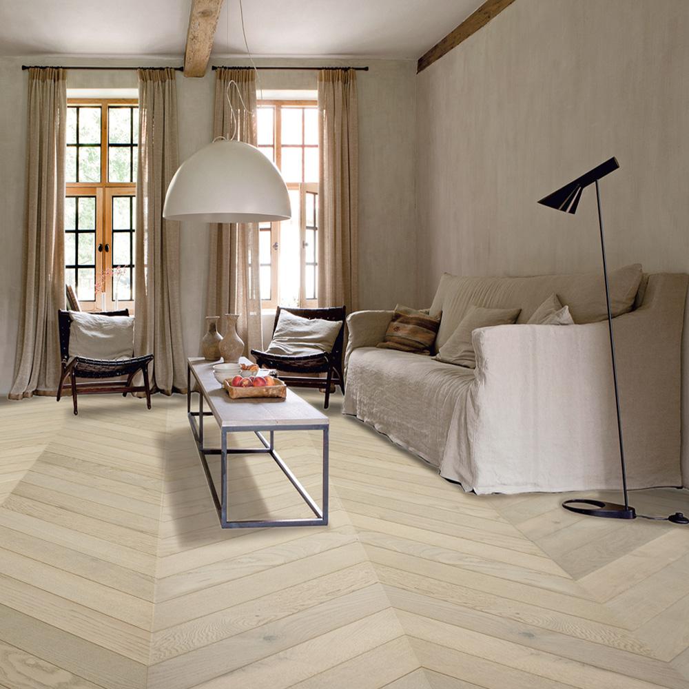 Chevron White Wood Flooring